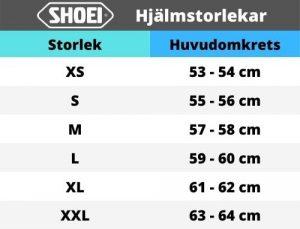 Storleksguide Shoei Crosshjälmar
